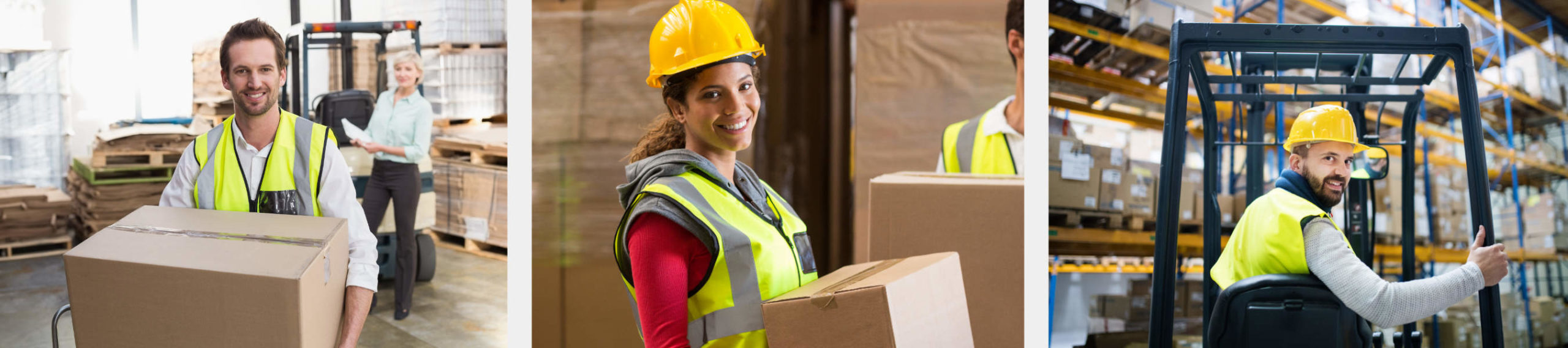 Happy and cool Workers in a warehouse